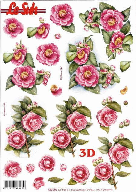 Wild Roses Die Cut 3d Decoupage Sheet From Le Suh - NO CUTTING